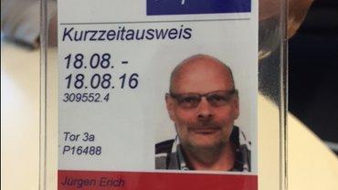 Der Fraportausweis mit Lichtbild von Jürgen Bothner, gültig für einen Tag.