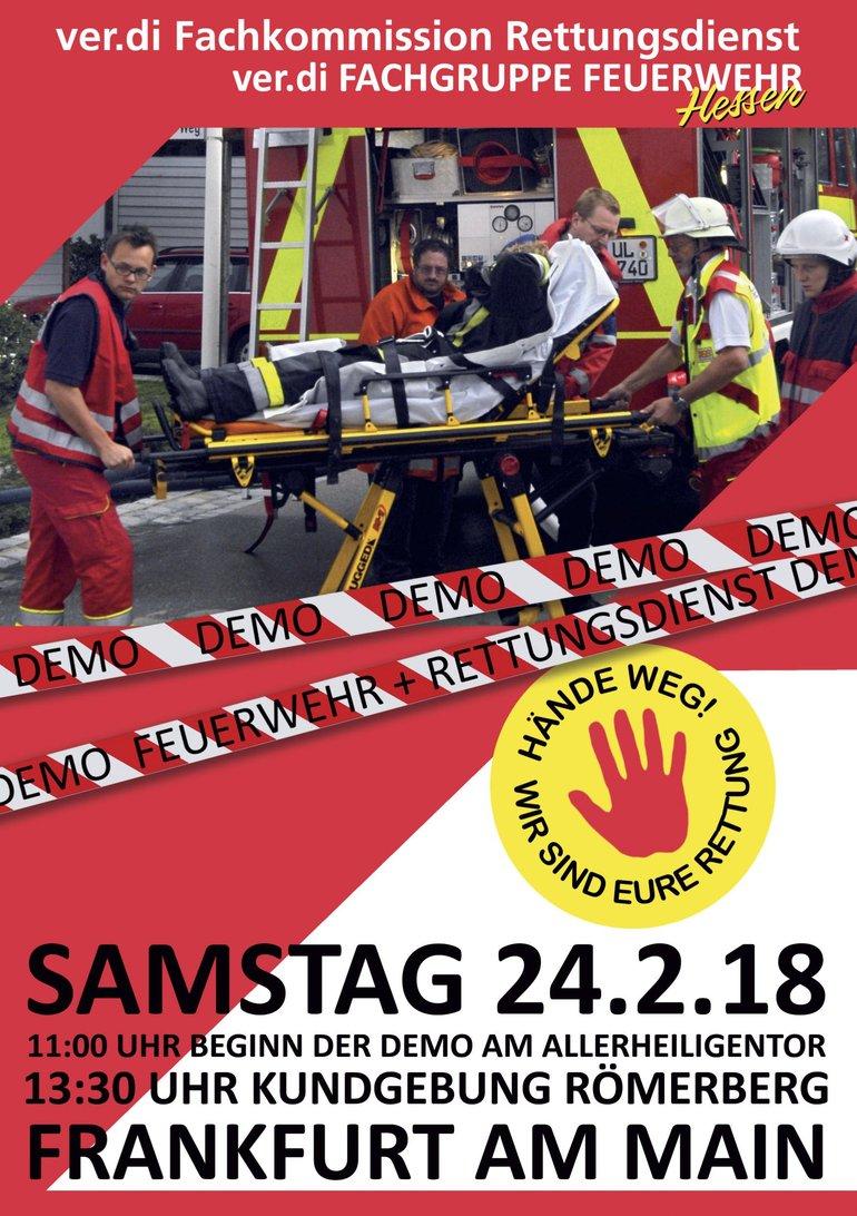 Demoaufruf mit Datum, Ort und Zeit und Feuerwehrleuten im Vordergrund.