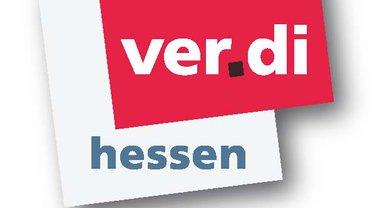 Logo ver.di Hessen, rot-scharz grau schattiert