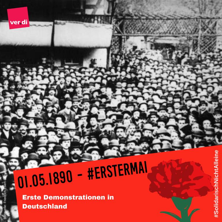 Historisches Bild, erste Mai-Demo in Deustchland