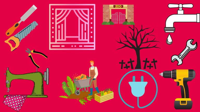 Grafik mit Symbolen von handwerklichen Berufen