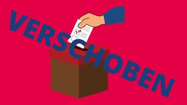 Grafik: Vor rotem Hintergrund schiebt eine Hand einen Wahlzettel in die Urne, davor quer in Blau: verschoben.