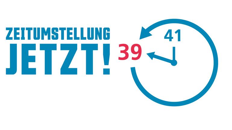 Graphik mit Uhr für die Zeitumstellung der Wochenarbeitszeit von Beamt*innen.