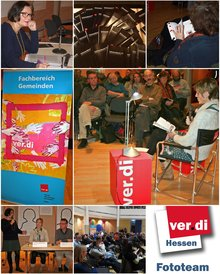 Collage Lesung Schwarzbuch 57 am 27.11.2014 im Gutleutsaal in Frankfurt
