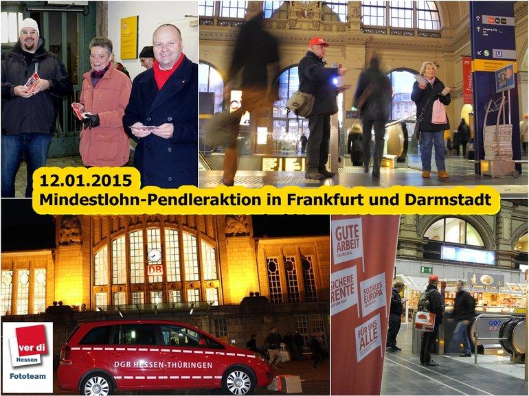Mindestlohn-Pendleraktion 12.01.2015 in Darmstadt und Frankfurt