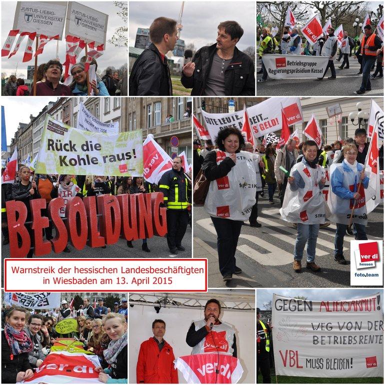 Warnstreik am 13.4.15 in Wiesbaden, Tarifrunde Land Hessen
