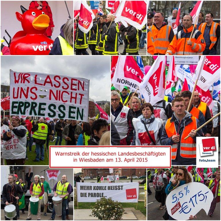 Warnstreik Tarifrunde Hessen am 13.4.15 in Wiesbaden