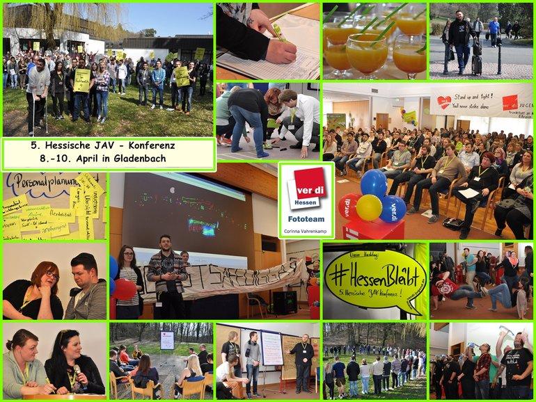 Collage von Fotos von der 5. Konferenz der hessischen Jugend- und Auszubildenvertretungen vom 8. bis 10. April 2015